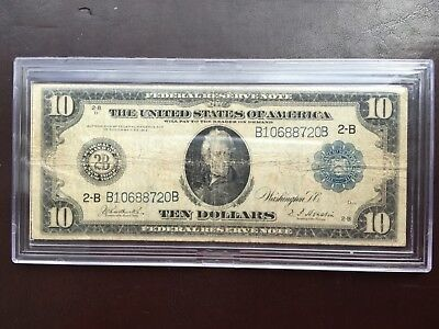 1914 United States Federal Reserve Bank Note $10 Dollar US with hard case