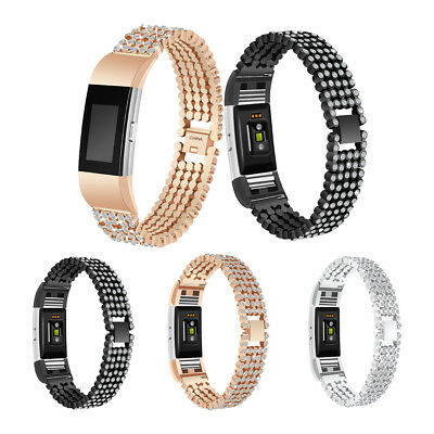 Crystal Wrist Watch Band Straps Bracelet Metal Wristbands for Fitbit Charge 2