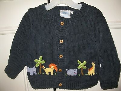 Bella Bliss Boys Cotton Cardigan Sweater Navy Jungle Animals Size 2