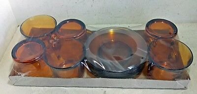 6 Retro Amber Glass Cups & Saucer Duos, Duralex France, New and Sealed (7056)