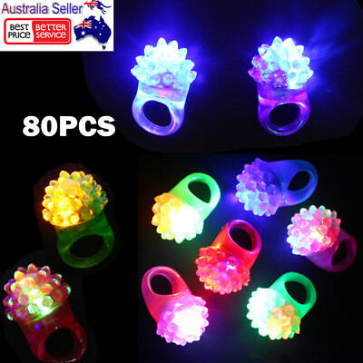 80x LED Flashing Strawberry Finger Rings Beams Lights Glow In the dark Party Toy