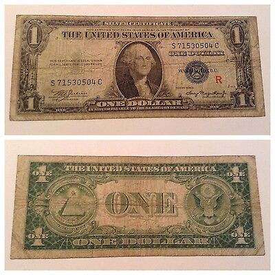 VINTAGE $1 experimental R 1935-A SILVER CERTIFICATE ONE DOLLAR BILL WASHINGTON S