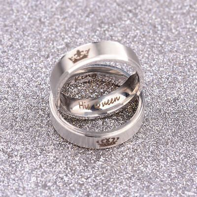 Fashion His Queen And Her King Titanium Steel For Lover Engagement Couple Rings