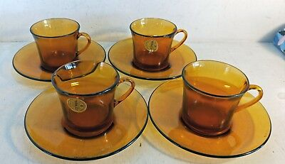 Set of 4 Retro / Vintage Amber Glass Cups & Saucer Duos, Duralex France (7057)