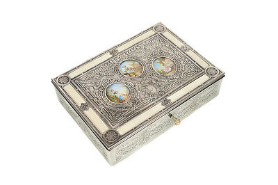 19th century Box in beautiful Silver Repousse and 3 hand painted oval panels