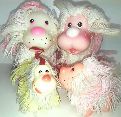 Shaggy doggy mommy figures toy dog figurines Puppy Fluppy fakies Vintage 1980s