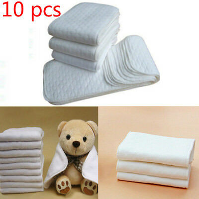 10 PCS Reusable Baby Cloth Diaper Nappy Liners insert 3 Layers Cotton