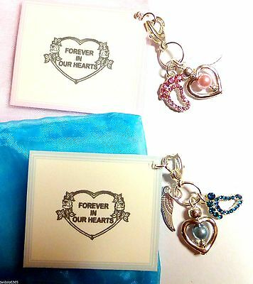"""""""Forever in our Hearts"""" Angel Baby Loss Lost Memorial Clip-on Charm Gift on Card"""