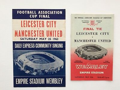 Leicester city V Manchter United FA Cup Final 1963 With Song Sheet