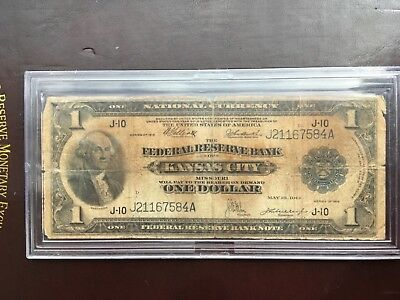 1918 Federal Reserve Bank Note National Currency Kansas One Dollar in hard case