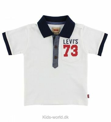 Designer LEVI'S Boys Polo Shirt White/Red/Blue 9mths 36mths WAS £33 NOW £16 SALE