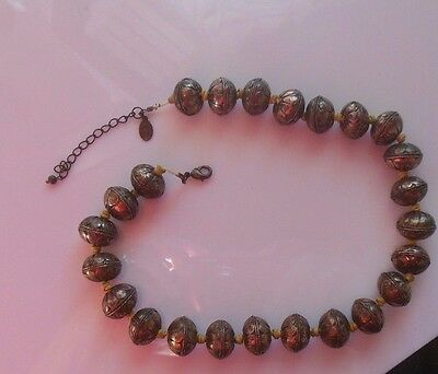 Vintage Signed A/C Heavy Brass Beaded Necklace Estate Find
