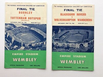 Two FA Cup Final Programms. Blackburn Rov V Wolverhampton. Burnley V Tottenham