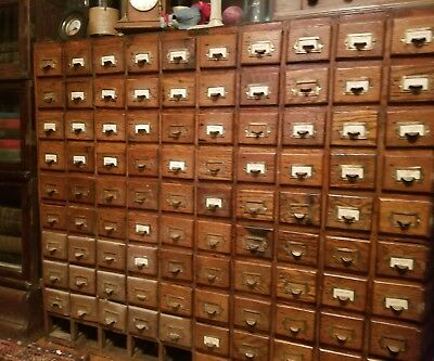 Antique HOBART Oak Card Catalogue 90 drawers