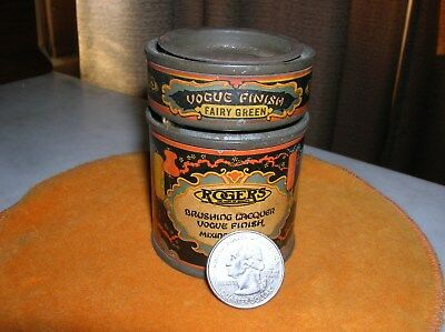 VINTAGE TINS 1920s ROGERS BRUSHING LACQUER (2) ADVERTISING COLORFUL GC  14.99
