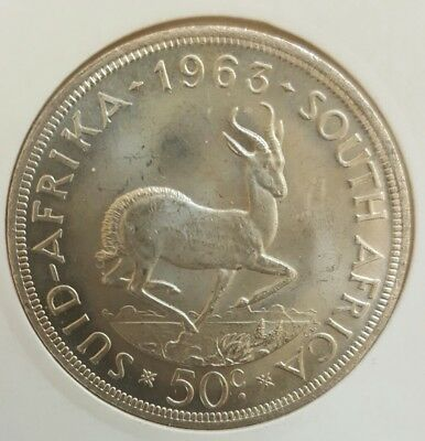 1963 South Africa 50 Cents UNCIRCULATED Silver Crown .....