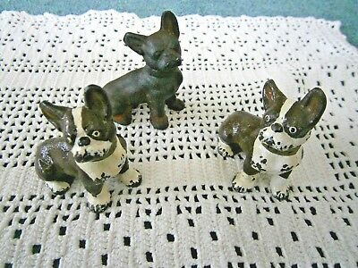 Cast Iron Dogs (3) Small Antique Figures Boston Terrier