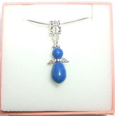 Guardian Angel Necklace made with Blue Swarovski Pearl Wedding Bridesmaid