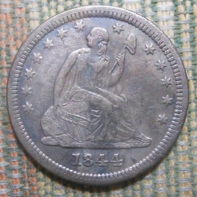 1844 O Seated Liberty 25C 1/4 Quarter Dollar  XF Details  New Orleans Mint