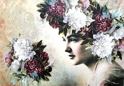 Rice Paper for Decoupage, Scrapbooking, Sheet Craft Vintage Lady with Roses 2