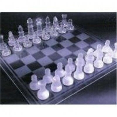NEW Large Luxury Frosted/Polished GLASS CHESS BOARD SET. Misha. Huge Saving