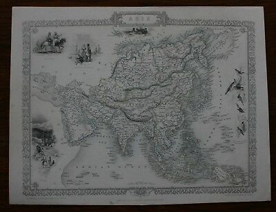Asia antique map by John Tallis published 1851
