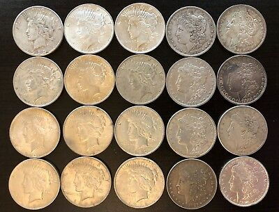 Roll of 20 Morgan and Liberty Dollars, Junk Silver