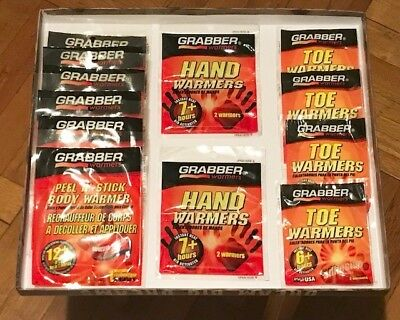 Mixed Lot of 12 Hot Hands Grabber Hand Toe Body Warmers Cold Weather Hunting