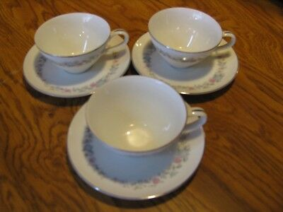 """Vintage Tea Cup and Saucer """"Rose China"""" """"Spring Haven"""" Lot of 3 Sets"""