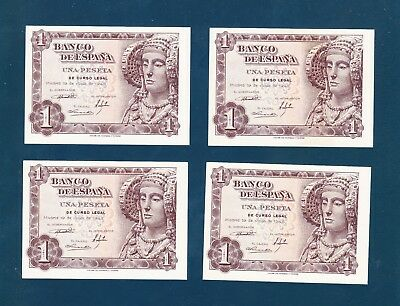 Lot of 4 - Spain 1 Peseta 1948 P-135 - Consecutive #'s AU++/UNC