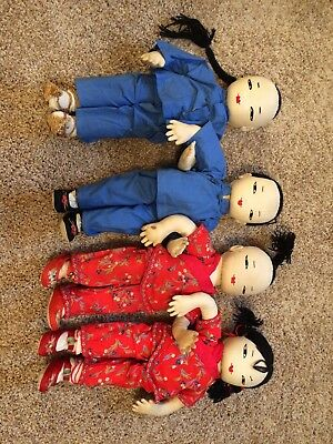 Vintage Ada Lum Dolls Family of 4 Chinese Farmer Dolls