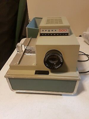 argus 500 automatic slide projector model 58 with case vintage