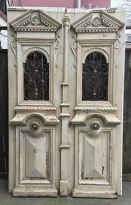 Antique Victorian French Doors Parlor Double Wrought Iron Grate Entrance Front