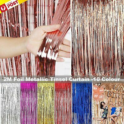 2M Metallic Tinsel Curtain Foil Backdrop Birthday Hens Party Decor Shiny Tinsel