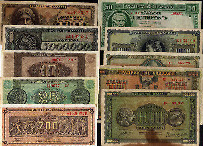 GREECE █ LOT 10 different bank notes 1939 1942 1943 1944 █ Grece Grecia