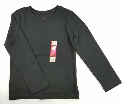 77a352b15dc5 Faded Glory Girl's Long Sleeve Crew Neck T-Shirt solid black 6-6X top