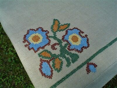 Vintage or Antique Heavy Folk Style Embroidered Tablecloth poss. Arts & Crafts