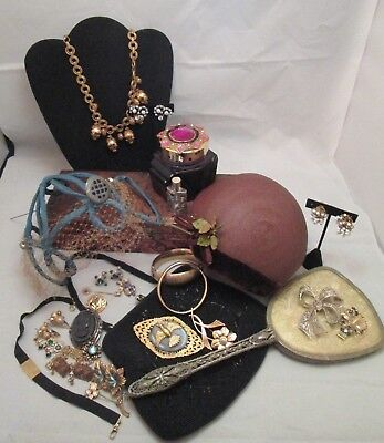 Antique Victorian Art Nouveau Deco Jewelry Glove Box Hats Gold Fill Sterling Lot