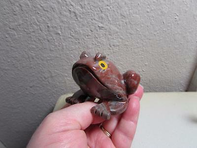 Frog or Toad, Hand carved Marble from the Andes. Rich Multi Hued Stone, Frog