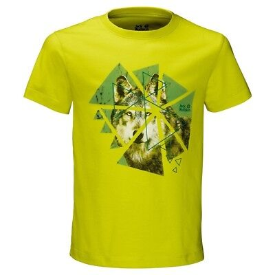 (Size 128 (7-8 Years Old) US, Flashing Green) - Jack Wolfskin Boys Wolf T-Shirt