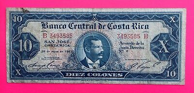 Costa Rica  10 Colones 1967 Series B  Circulated Banknote