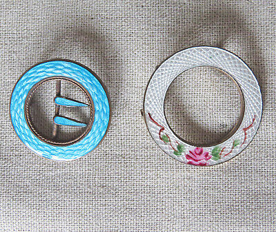 Antique Victorian Edwardian Guilloche Enamel Circle Pins Brooches, 2