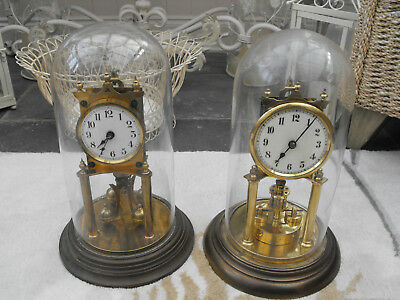2 Old Antique Brass Anniversary 400 Day Torsion Clock & Glass Dome German Made