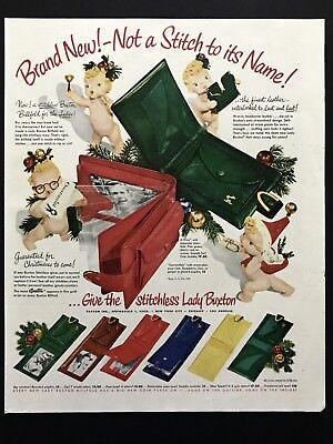 1950 Vintage Print Ad LADY BUXTON Wallet Image 50's Fashion Accessory