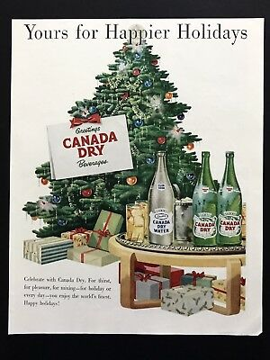 1950 Vintage Print Ad CANADA DRY Christmas Tree Image Holiday Gifts