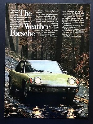 1973 Vintage Print Ad 70's Style PORCHE 914 Weather Fall Foliage Country Image