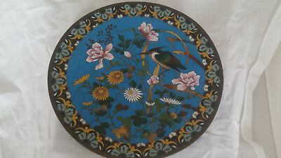 China Japan enamel Cloisonne Emaille Plate Bird Antique Plate Charger Wall Plate