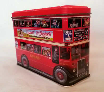 Blechdose Red Bus Vintage British -London Double-Decker Red Bus, Silver Crane C.