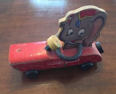 "Rare Vintage 1940s ""Walt Disney's Dumbo Circus"" Fisher Price Pull Toy ""No. 738"""