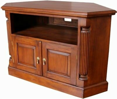 Solid Mahogany 2 Door Corner TV Cabinet H67 x W109 x D53 cm Antique Reproduction